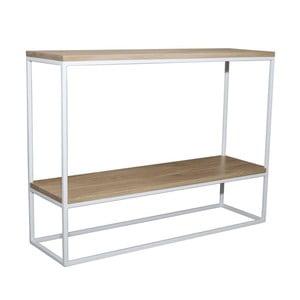 Bílý konzolový stolek s deskou z dubového dřeva Take Me HOME Plock, 100x30cm