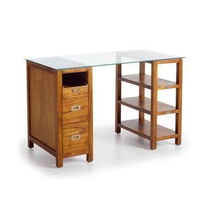Psací stůl se skleněnou deskou ze dřeva Mindi Moycor Star