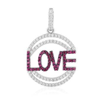 Pandantiv Swarovski Elements Crystals Love Heart, argintiu-roz imagine