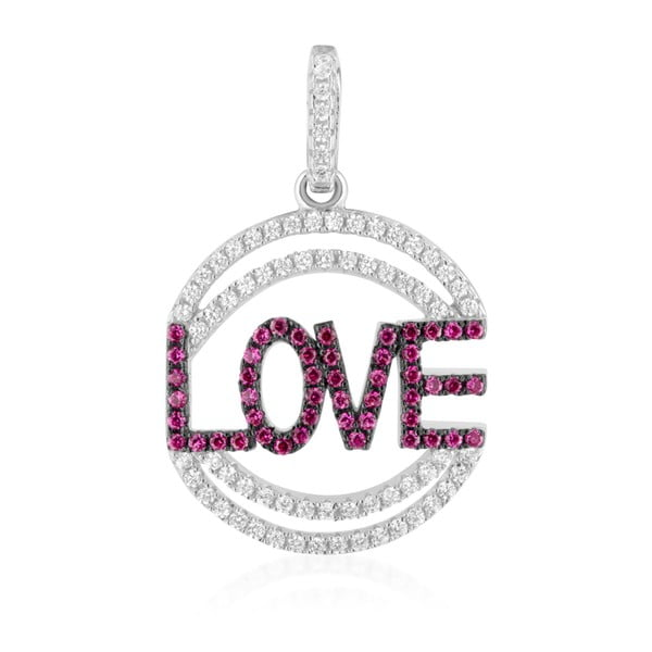 Pandantiv Swarovski Elements Crystals Love Heart, argintiu-roz