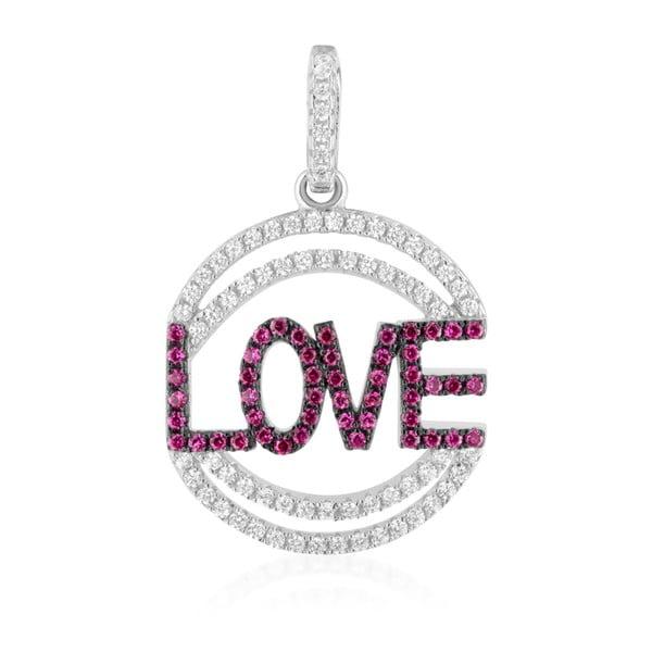 Stříbrný přívěsek s růžovými a bílými zirkony Swarovski Elements Crystals Love Heart
