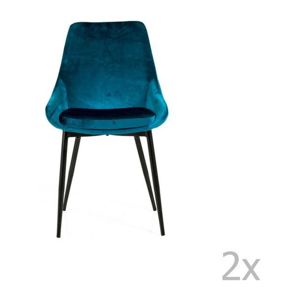 Sada 2 petrolejově modrých jídelních židlí se sametovým potahem Tenzo Lex