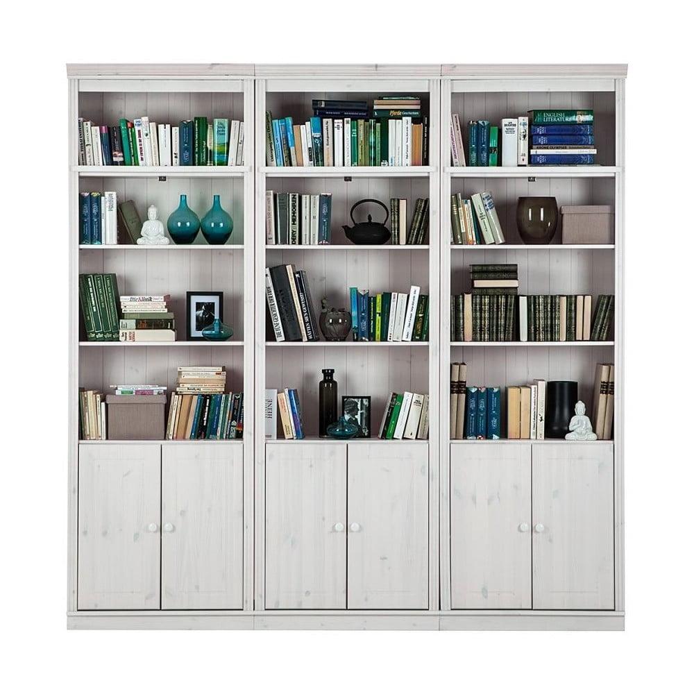 Bílá knihovna z borovicového masivu Støraa Annabelle, šířka 219 cm