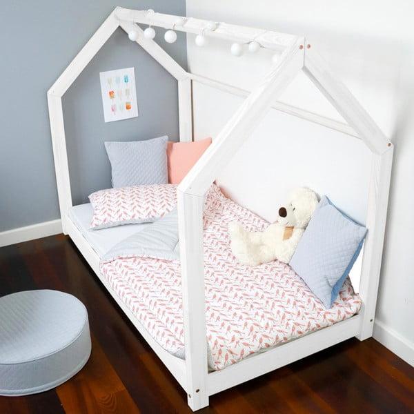 Dětská bílá postel z borovicového dřeva Benlemi Tery,80x160cm