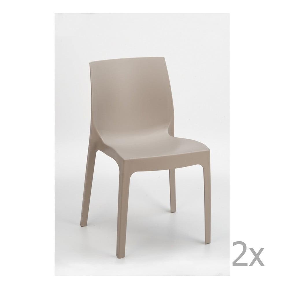 Sada 2 béžových jídelních židlí Castagnetti Rome