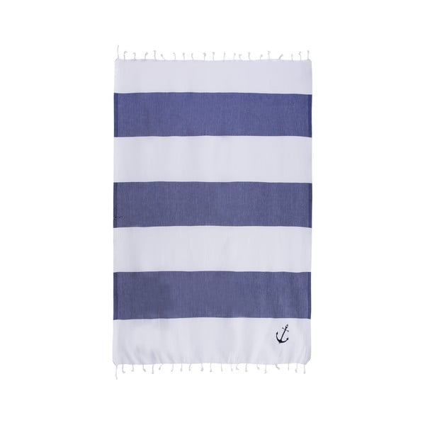 Hamam osuška Sea Pool White Dark Blue, 100x170 cm