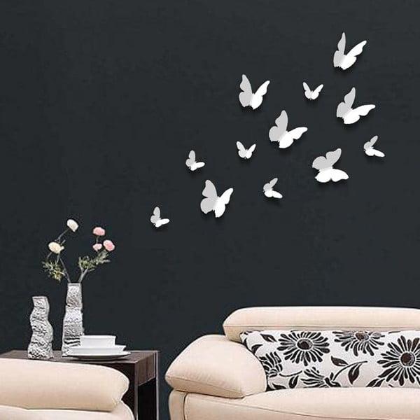 Trojrozměrné samolepky motýlků, jednobarevní bílí