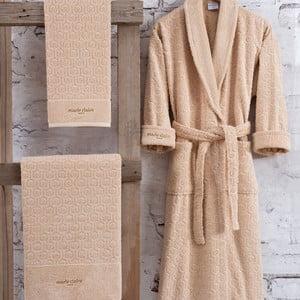 Set hnědého bavlněného dámského županu velikosti XL, ručníku a osušky Bathrobe Set Lady