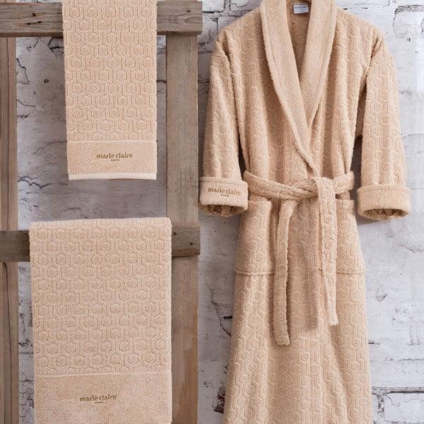 Komplet brązowego damskiego szlafroka bawełnianego w rozmiarze XL i 2 ręczników Bathrobe Komplet Lady
