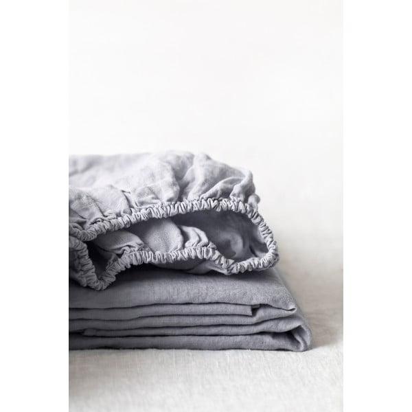 Světle šedé lněné elastické prostěradlo Linen Tales, 180 x 200 cm