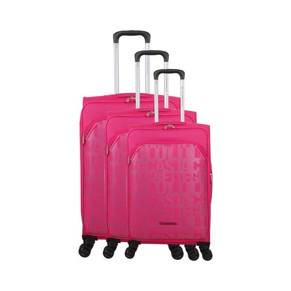 Zestaw 3 walizek w malinowym kolorze z 4 kółkami Lulucastagnette Bellatrice
