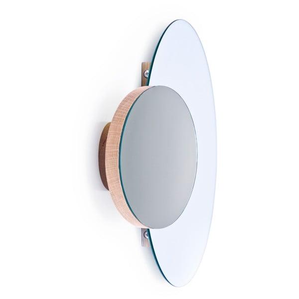 Podwójne lustro ścienne na uchwycie z drewna dębowego Mezza Wireworks