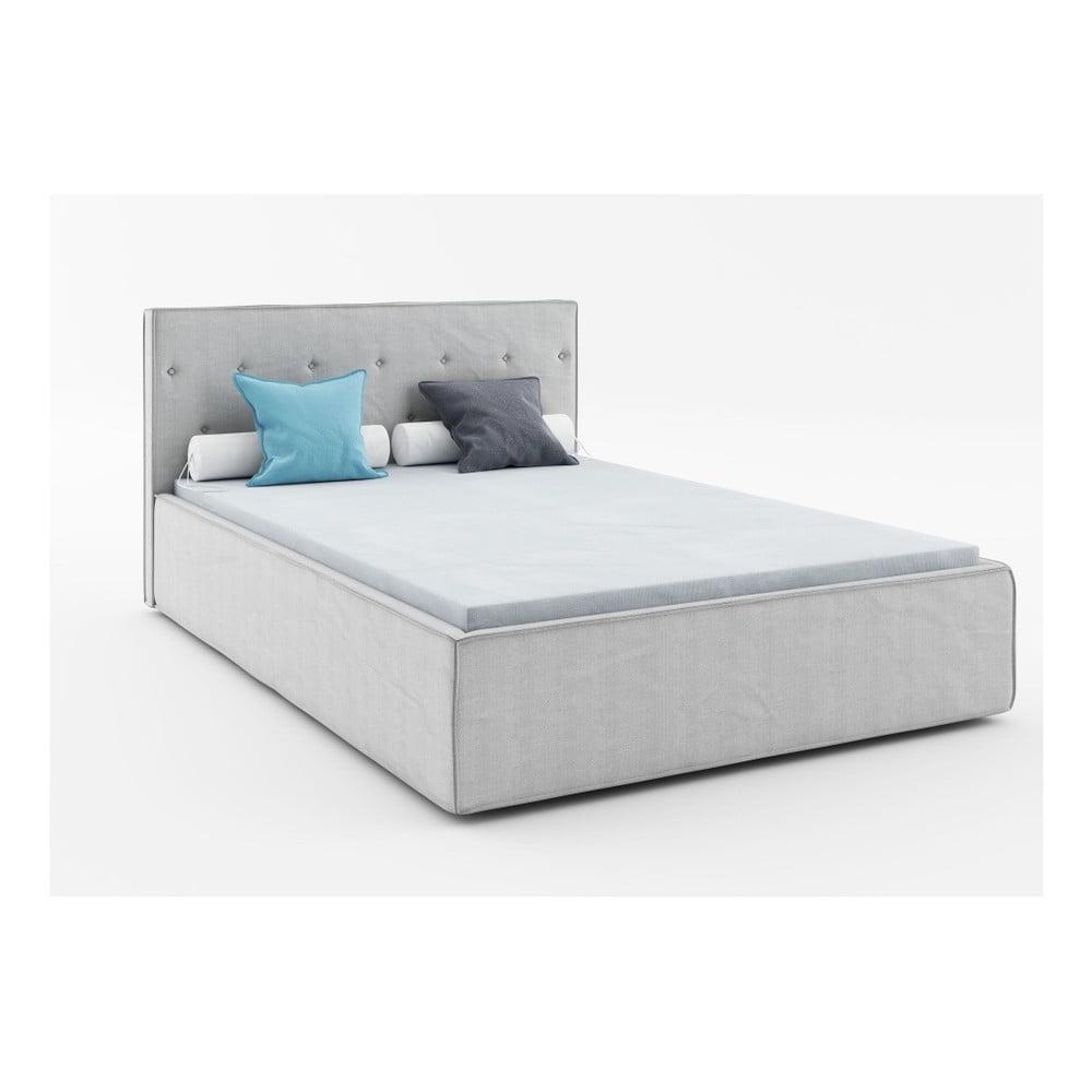 Světle šedá dvoulůžková postel Absynth Mio Premium, 160 x 200 cm
