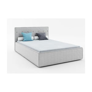 Světle šedá dvoulůžková postel Absynth Mio Premium, 160x200cm
