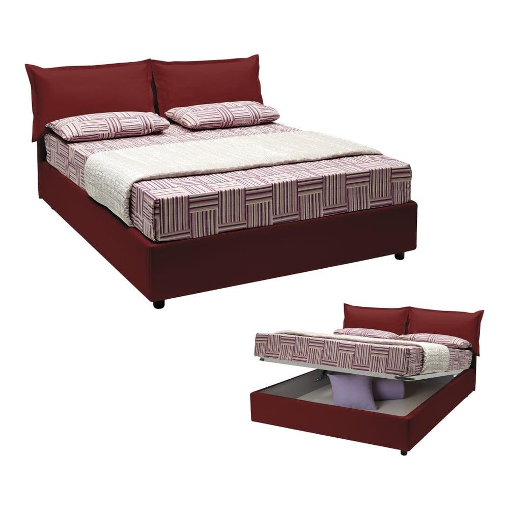 Červená dvoulůžková postel s úložným prostorem, matrací a potahem z koženky 13Casa Rose, 160 x 200 cm