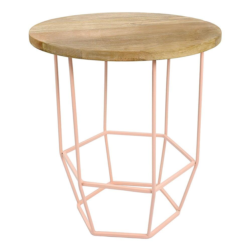 Růžový stolek se snímatelnou deskou z mangového dřeva HF Living Hexa Blush