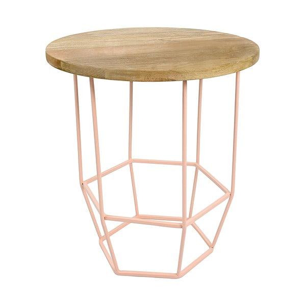 Růžový stolek s deskou z mangového dřeva HF Living Hexa Blush