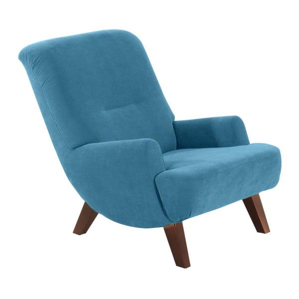 Brandford Velor petróleum kék fotel, sötétbarna lábakkal - Max Winzer