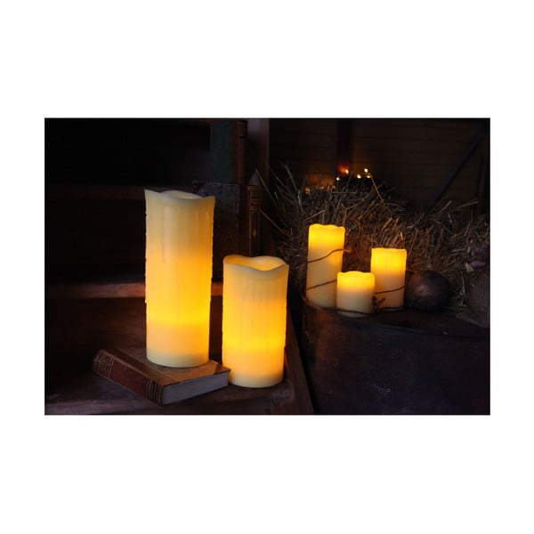 LED svíčka z vosku, 15 cm