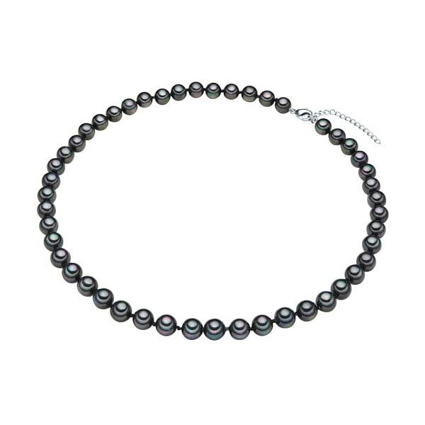 Perlový náhrdelník Muschel, antracitové perly 8 mm, délka 45 cm