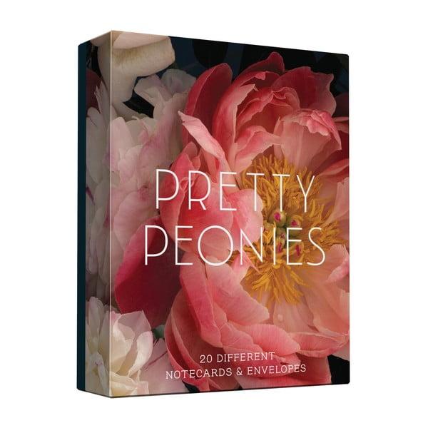 Sada přání a obálek Chronicle Books Prety Peonies, 20ks