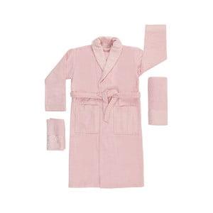 Set 2 růžových ručníků a unisex županu z čisté bavlny Kimmy, vel. M/L