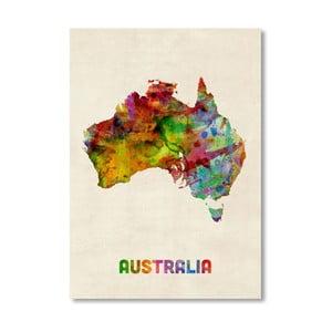Plakát s pestrobarevnou mapou Austrálie Americanflat Art, 60x42cm
