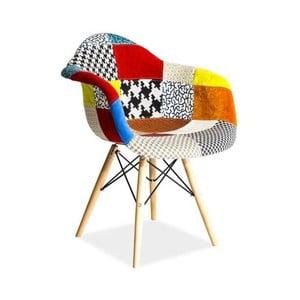 Barevná jídelní židle s dřevěnýma nohama Signal Leon Patchwork