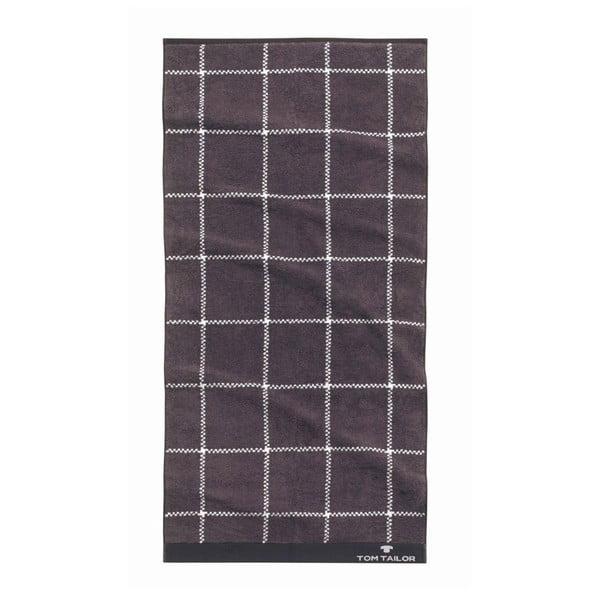 Ručník Tom Tailor Jacquard Dark Grey, 90x200 cm
