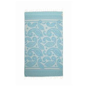Modrá hammam osuška Begonville Paisley, 180x95cm