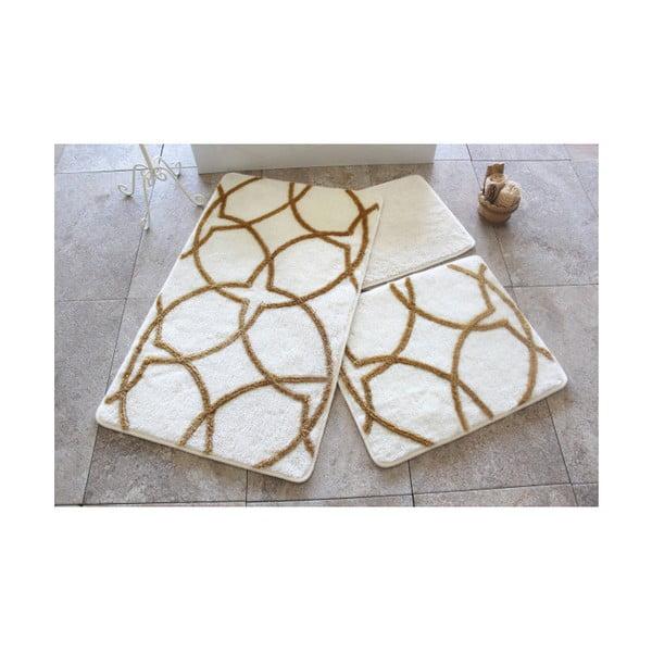 Set 3 covorașe de baie Confetti Bathmats Bonita, alb - galben