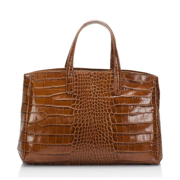Koňakově hnědá kožená kabelka Lisa Minardi Magnata