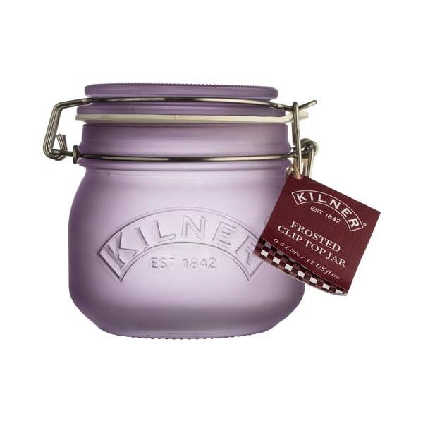 Mléčně fialová sklenice s klipem Kilner, 0,5 l