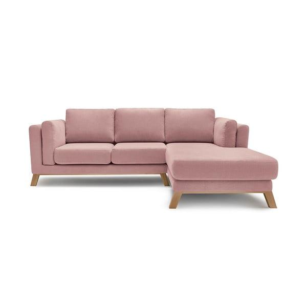 Seattle rózsaszín háromszemélyes kanapé, jobb oldali fekvőfotellel - Bobochic Paris