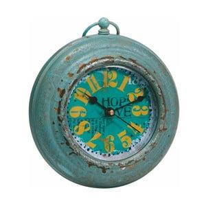 Kovové hodiny, antique green, 13x15 cm
