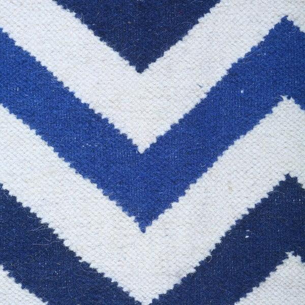 Vlněný koberec Geometry Zic Zac Dark Blue Mix, 160x230 cm
