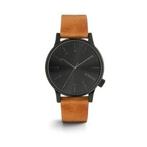 Pánské hnědé hodinky s koženým řemínkem a černým ciferníkem Komono Regal Cognac