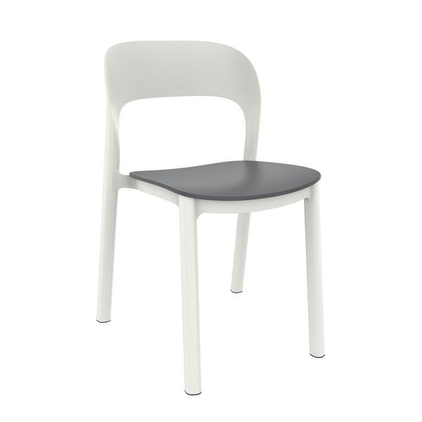 Set 4 scaune de grădină cu șezut gri Resol Ona, alb
