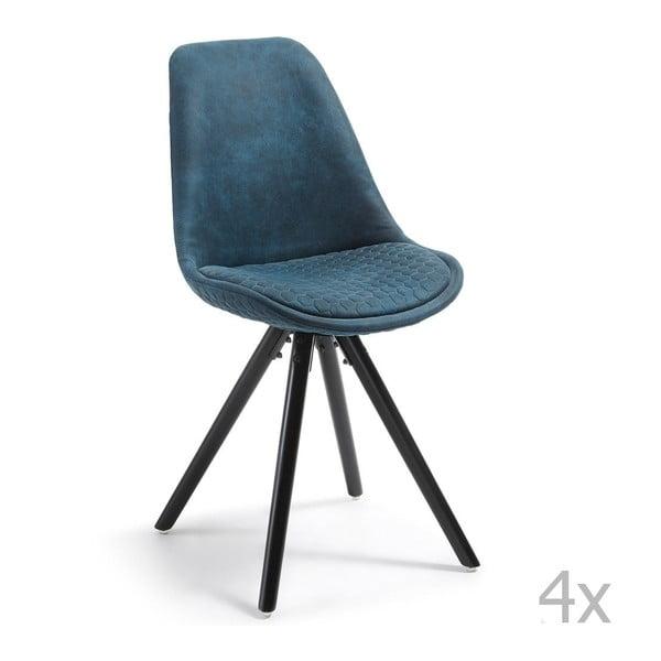 Sada 4 tmavě modrých židlí La Forma Lars