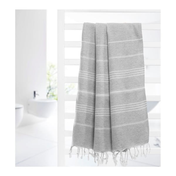 Prosop hammam Cross Grey, 95x175 cm