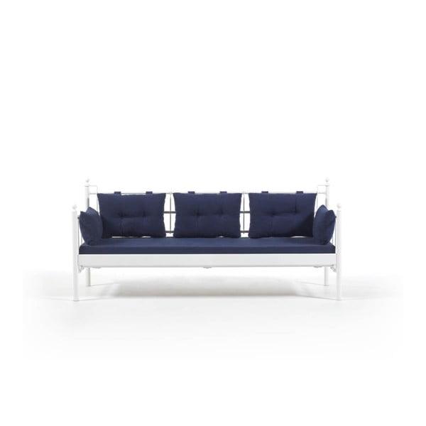 Canapea cu 3 locuri de grădină Lalas DKS, 96 x 209 cm, albastru-alb
