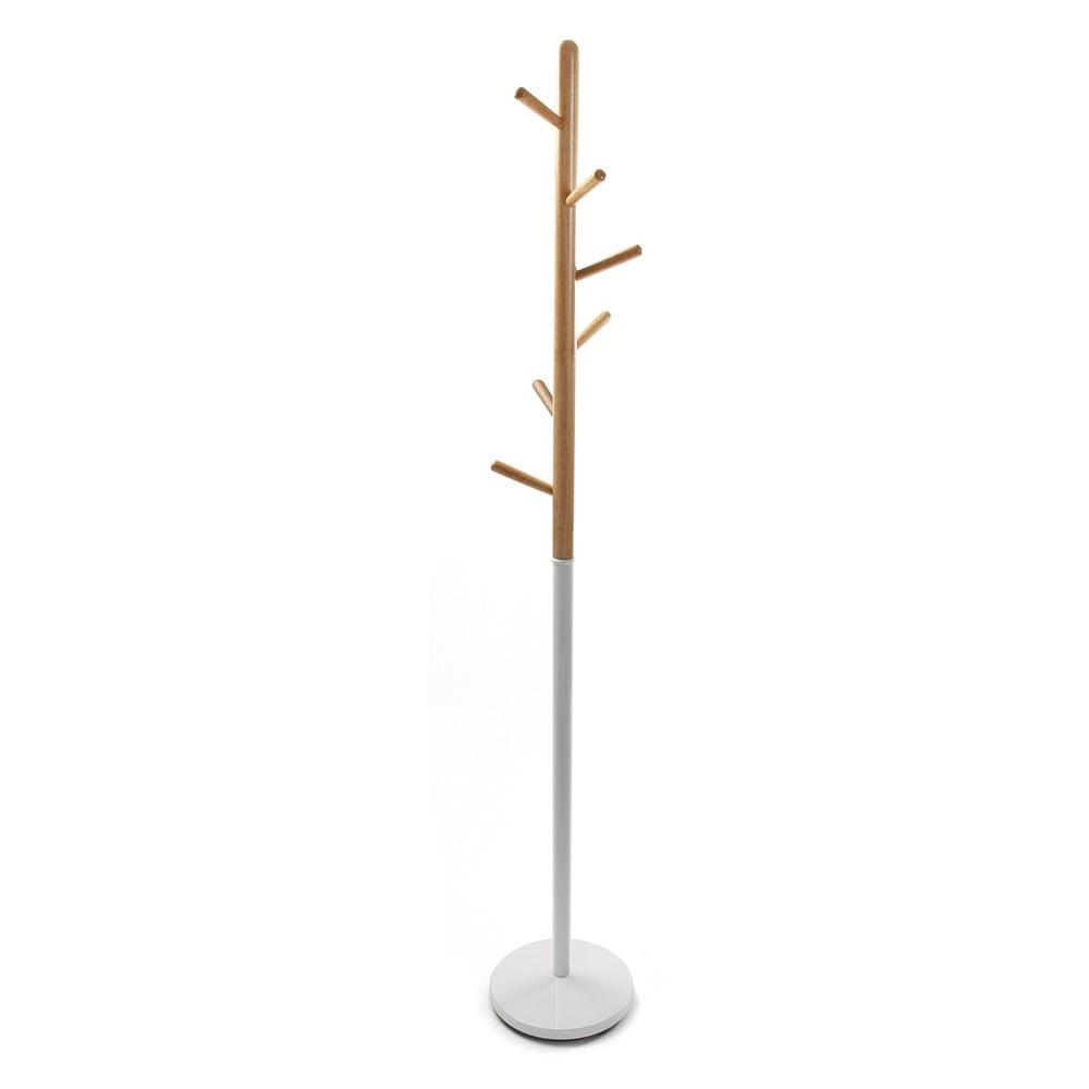 Bílý věšák s dřevěnými prvky VERSA Clothes, výška 180 cm