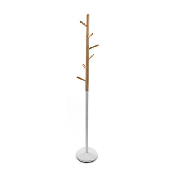 Clothes fehér fogas fa elemekkel, magasság 180 cm - VERSA