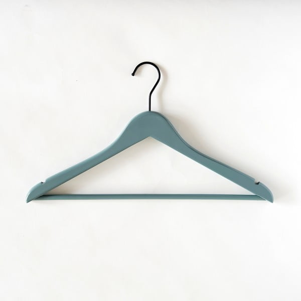 Šedo-zelené dřevěné ramínko s kalhotovou tyčí Compactor Line