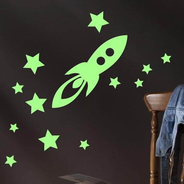 Autocolant fosforescent Fanastick Rocket and Stars