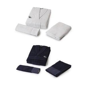 Sada dámského a pánského županu a 4 ručníků U.S. Polo Assn. B&W