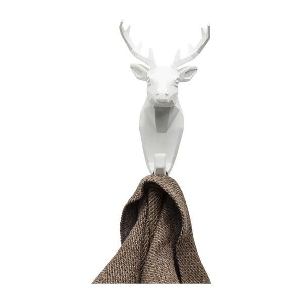Bílý nástěnný věšák z oceli Kare Design Deer