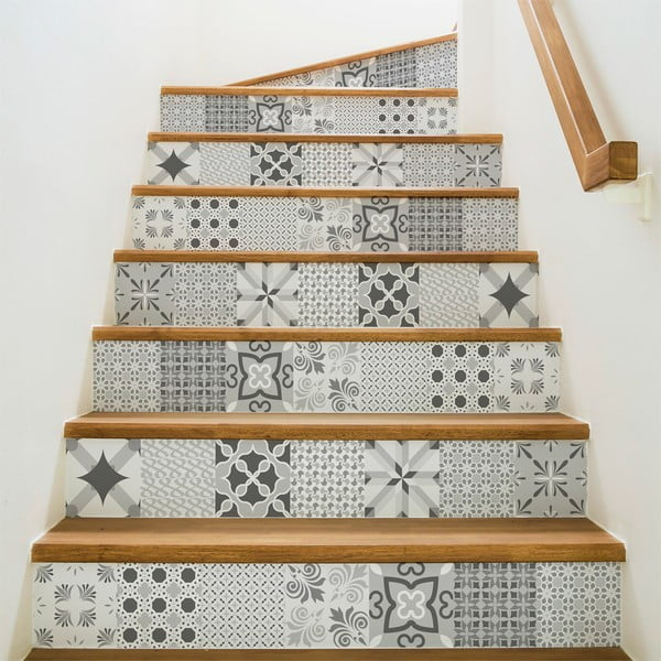 Sada 2 samolepiek na schody Ambiance Romantic Grey, 15×105 cm