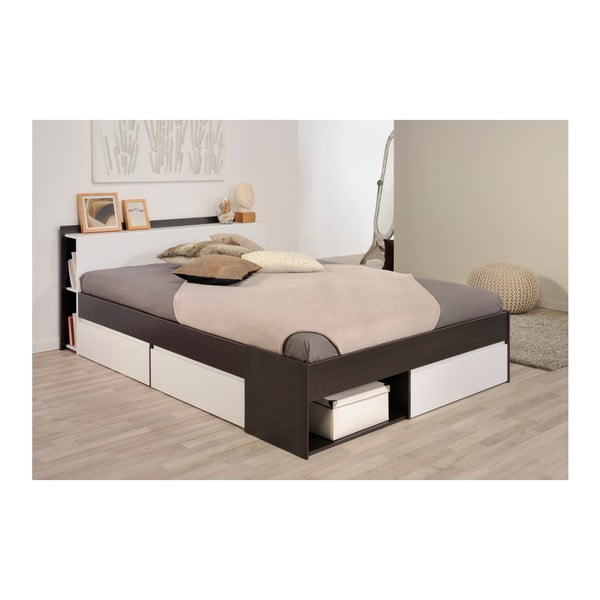 Hnědá dvoulůžková postel se 3 zásuvkami Parisot Aubrée, 140x190-200cm