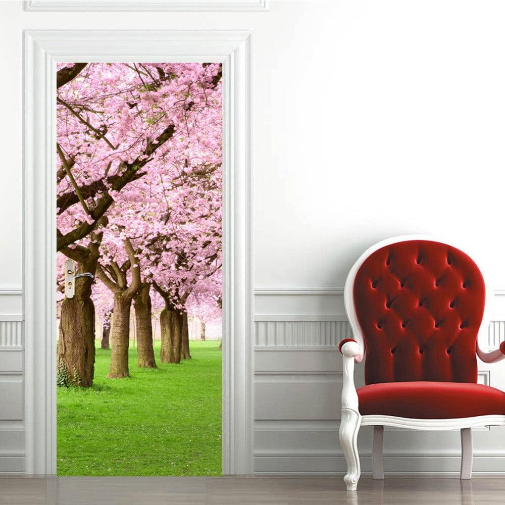 Tapeta na dveře Walplus Pink Blossom Flowers Tree, 88 x 200 cm